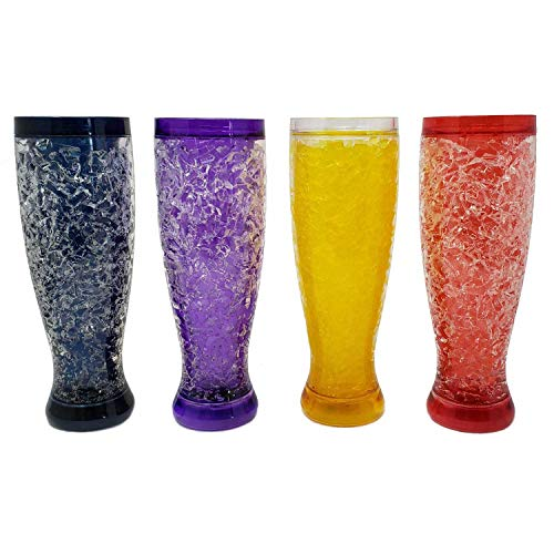 Freezable Double Wall Crackle Gel Tall Pilsener Beer Soda Lemonade Iced Tea Glasses Keep Drinks Cold -