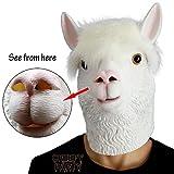 CreepyParty Novelty Halloween Costume Party Latex Animal Head Mask Alpaca