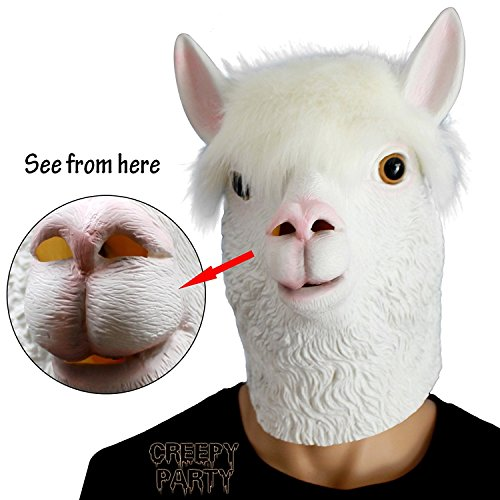 CreepyParty Novelty Halloween Costume Party Latex Animal Head Mask Alpaca White ()