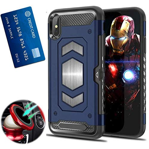 iPhone XS Max with Card Holder and Magnetic car Back Full Body Armor Apple iPhone: 6.5 Inches (iPhone XS MAX Blue)