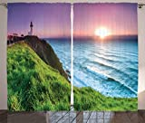 Cheap Ambesonne Lighthouse Decor Collection, Byron Bay Lighthouse During Sunrise Nature Hill Dawn Sunbeams Scenic Seashore Image, Living Room Bedroom Curtain 2 Panels Set, 108 X 90 Inches, Green Blue