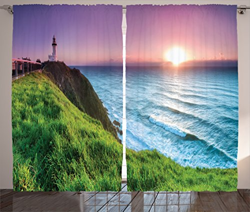 Ambesonne Lighthouse Decor Collection, Byron Bay Lighthouse During Sunrise Nature Hill Dawn Sunbeams Scenic Seashore Image, Living Room Bedroom Curtain 2 Panels Set, 108 X 90 Inches, Green (Lighthouse Room Divider)