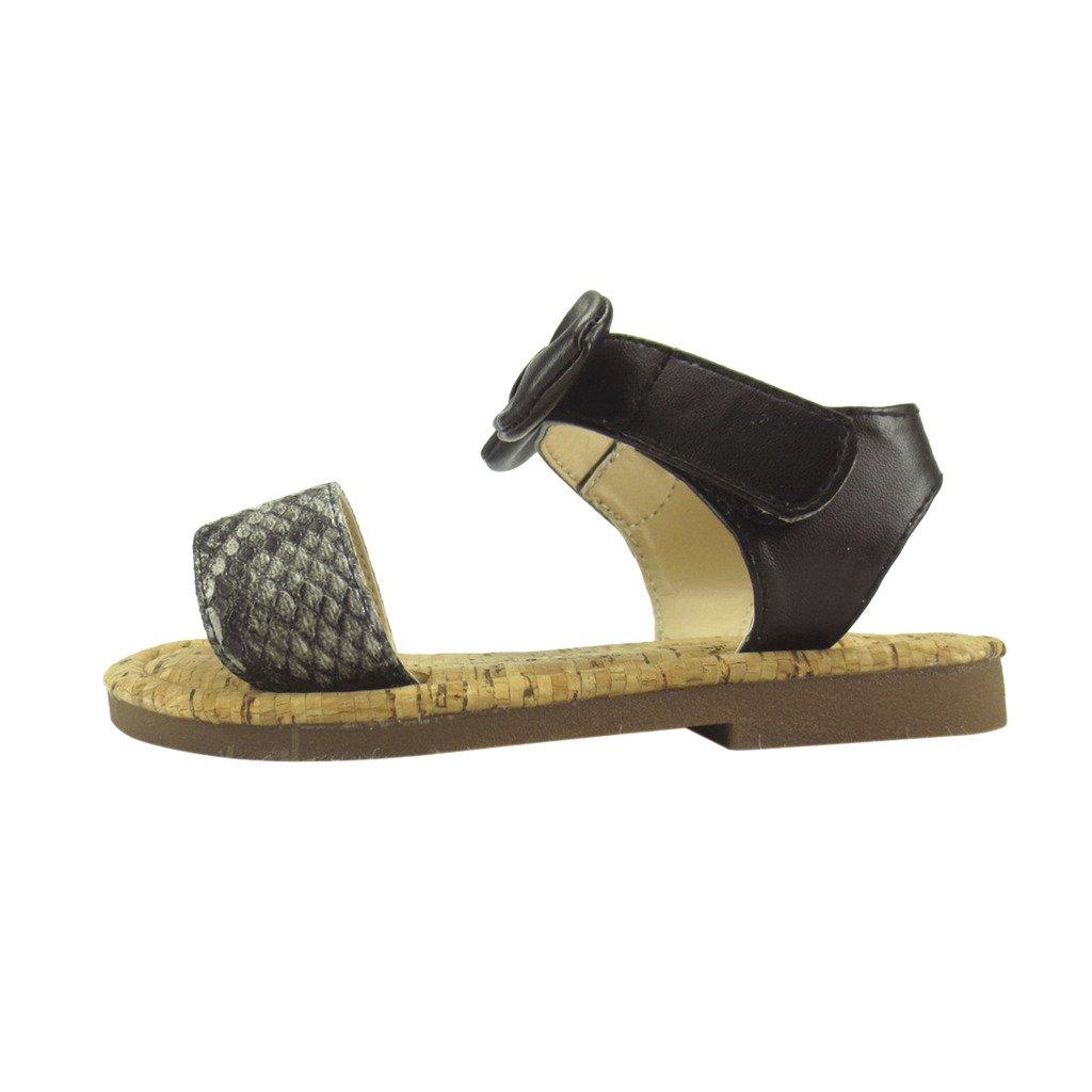 FBA172004A-12 Black The Doll Maker Snakeskin Ankle Sandal