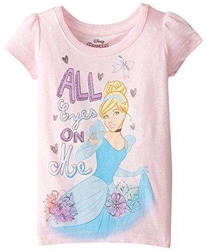 Disney Little Girls' Toddler Cinderella All Eyes On Me Toddler Girl Short Sleeve T-Shirt, Light Pink, 4T by Disney