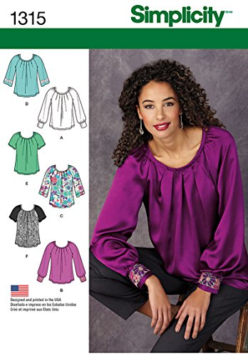 (Simplicity Pattern 1315 Misses Pullover Blouse with Sleeve and Trim Variations Sizes)