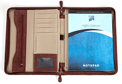Professional Business Case Portfolio Padfolio Organizer Folder With iPad Mini, Kindle or Tablet Sleeve, Zipper, Card Holders, Pen Holder, Document Folder, and Front Paper Holder - Tan Photo #7