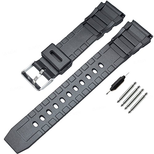 Black Rubber Belt Watch (ZLIMSN Replacement Strap Band - Choose Width (18mm, 20mm or 22mm) -Sport Silicone Rubber Watch Band  (20 mm))