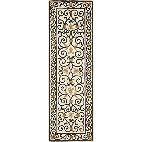 Safavieh Chelsea Collection HK11H Hand-Hooked Ivory and Dark Brown Premium Wool Area Rug (2'6