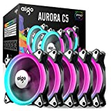 aigo Aurora C5 Pro Kit 5-Pack RGB LED PMW Quiet High Airflow Color Adjustable Computer Case Fan PC Cooler Radiator Fan with Controller, Fan Speed and Light Speed Controllable