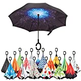 Inverted Umbrella Best Windproof Umbrella Cars Reverse Umbrella Beautiful Rain Umbrella with UV Protection Upside Down Umbrella with C-Shaped Handle and Carrying Bag (Starry Sky)