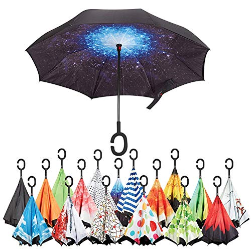 Inverted Umbrella Best Windproof Umbrella Cars Reverse Umbrella Beautiful Rain Umbrella with UV Protection Upside Down Umbrella with C-Shaped Handle and Carrying Bag (Starry - Reserve Block