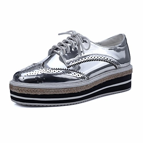 MINIVOG Platform Wingtips Square Toe Women Oxfords Shoe Silver 9