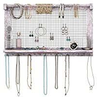 Comfify Rustic Jewelry Organizer - Wall Mounted Jewelry Holder w/Removable Bracelet Rod, Shelf & 16 Hooks - Perfect Earrings, Necklaces & Bracelets Holder - Bonus Bracelet Included- Rustic White