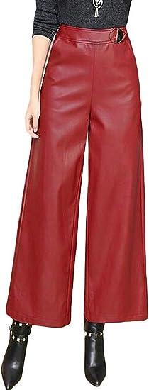 Women's Fall Winter Faux Leather High Waist Wide Leg Palazzo Lounge Pants