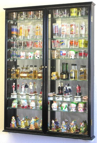 XL Shot Glass Display Case Rack Holder Cabinet W/ Mirror Backed And 11 Glass  Shelves