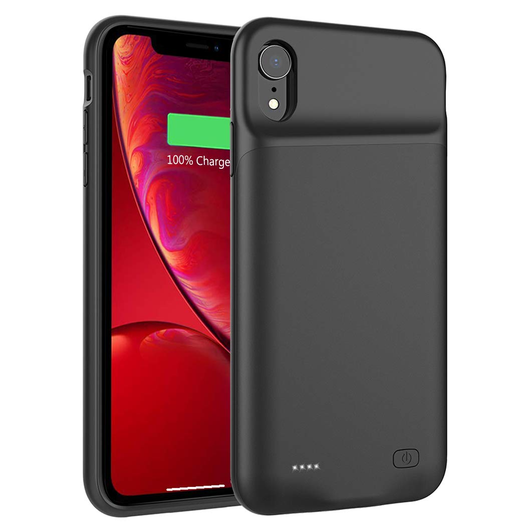 iPhone XR Battery Case, Euhan 6000mAh Slim Rechargeable Power Charging Case for iPhone XR (6.1 inch) Extended Battery Pack Protective Charger Case, Compatible with Wire Headphones (Black)