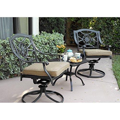 (Darlee Ten Star 3 Piece Patio Swivel Rocker Chair Set in Antique Bronze)