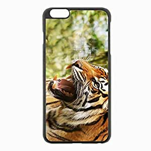 iPhone 6 Plus Black Hardshell Case 5.5inch - big tiger teeth anger Desin Images Protector Back Cover