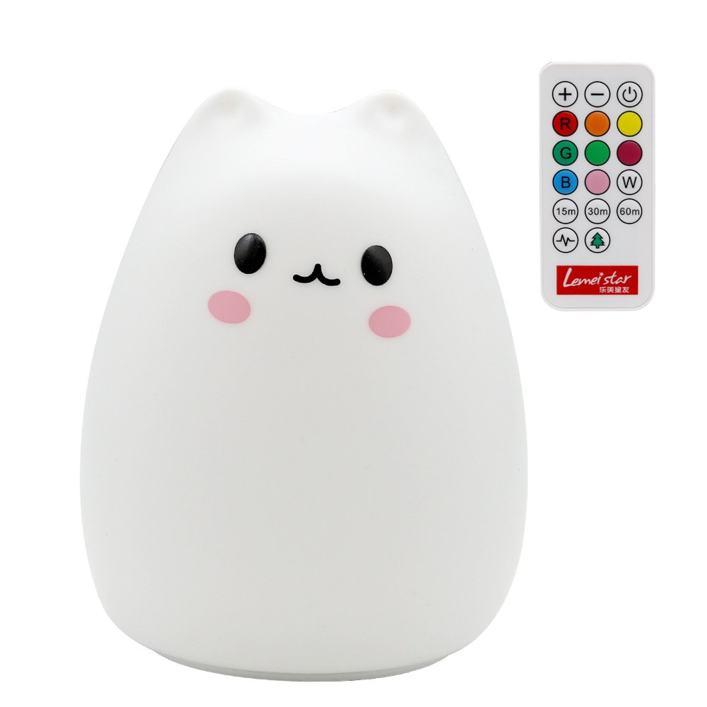 Children Night Light, SCOPOW LED Silicone Cute Cat Lamp Remote Control, Kids Bedside Lamp, 3 Modes USB Rechargeable Sensitive Tap Control Fairy Light for Boys Girls Bedroom Birthday Christmas Gift Toys 1B201A04I91UK