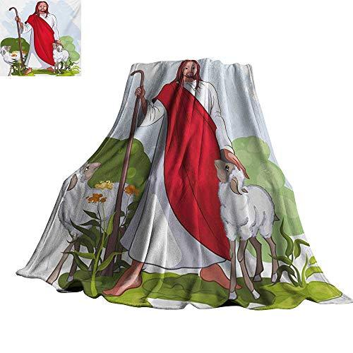 Shepherd Fleece Sweatshirt - Angoueleven Cartoon,Blankets Cartoon Style Shepherd with Two Sheeps Grass and Trees Sheepherd Abstract Backdrop Plush Microfiber Blanket 80