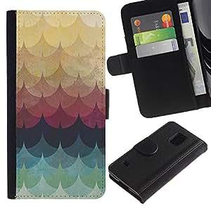 iKiki Tech / Cartera Funda Carcasa - Yellow Teal Pattern Lines Waves - Samsung Galaxy S5 SM-G900