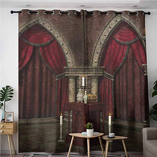 AndyTours Kids Curtains,Gothic,Mysterious Dark Room in Castle Ancient Pillars Candles Spiritual Atmosphere Pattern,Space Decorations,W84x72L,Red Black ()