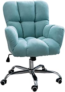 Office Chairs Mid-Back with Ergonomic Back, Swivel Chairs with Thick Cushion and Adjustable Backrest, Hold Up to 150kg, for Bedroom Dining Living Room