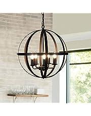 Industrial Globe Chandeliers, Hanging Pendant Lighting, Ceiling Lights Fixture, Bronze Metal Lighting for Dining Room, Kitchen Island, Living Room, Hallway