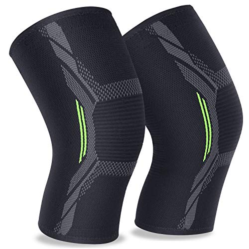 2 Pack Knee Brace Knee Sleeves Knee Support of 3D Flexible Breathable Knitting and Double Anti-Slip Silicone Gel Sweat Absorbing for Men or Women MUBYTREE (M: 17″-19″)