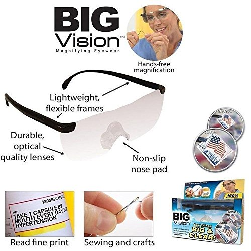 Unisex Pro Big Vision Reading As Seen On TV Bigger Magnifying Glasses Eyewear