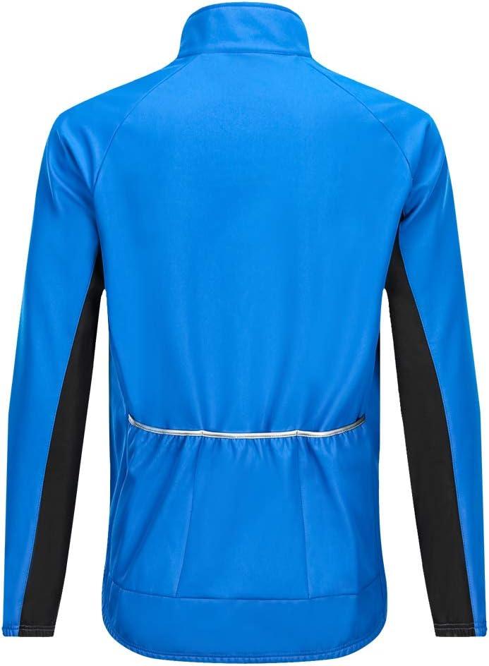 WOSAWE Hommes Vestes de Cyclisme Fleece Thermique V/élo Coupe Vent Impermeable V/êtements pour Automne Hiver