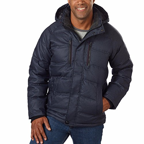 HAWKE & CO. Men's Clarkson Down Hooded Parka Jacket, Navy- Large