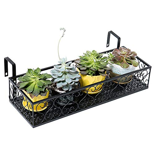MORINN Iron Hanging Shelf Basket with Hooks, Balcony Flower Pot Holder Railing Shelf, for Patio Porch or Fence (L, 23.6