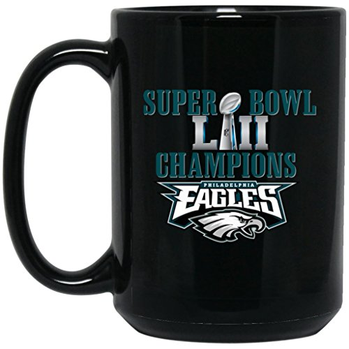 Nfl Ceramic Coffee (Philadelphia Eagles Coffee Mug | Eagles Mug | Super Bowl 52 Champions Philadelphia Eagles | 15 oz Black Ceramic Mug Cup | NFL NFC National Football League | Perfect Unique Gift For Any Eagles Fan!)