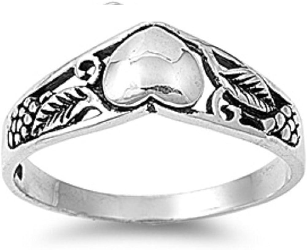 Princess Kylie 925 Sterling Silver Heart Flower Filigree Fashion Ring