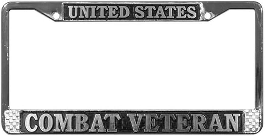 Hopess Vietnam Veteran Ribbon Huey Black License Plate Frame Cover 2 Holes and Screws License Plate Holder Military Pride Car Tag Frame Aluminum Metal