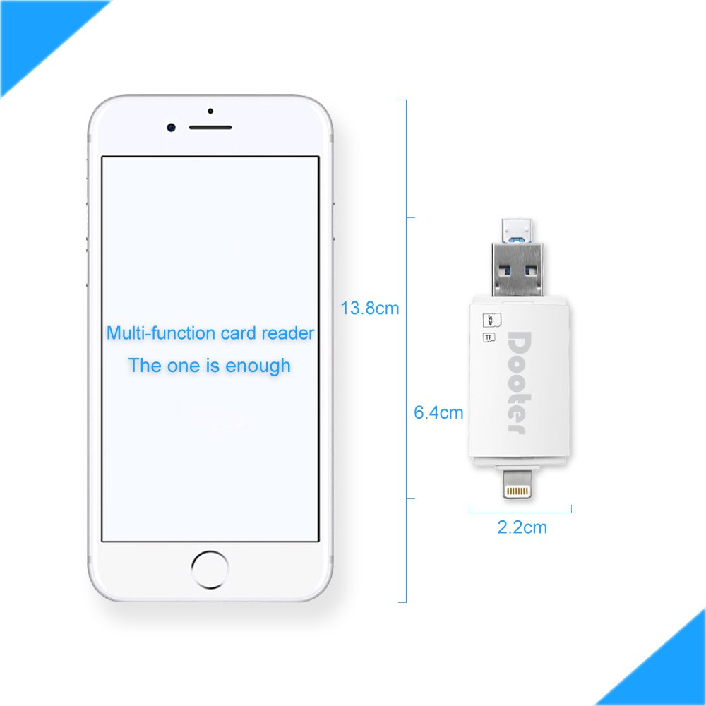 Dooter Lightning to SD Card Reader USB,Memory TF Card Viewer Adapter for iPhone iPad Android Apple MacBook Pro,Support SD Micro SDXC/SDHC UHS-I Card 3 in 1 by Dooter (Image #5)