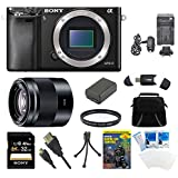 Sony Alpha a6000 24.3MP Interchangeable Lens Camera Body only + 16-70mm Mid-Range Zoom Lens + Accessory Bundle (2 Lens Kit 16-50mm & 50mm)