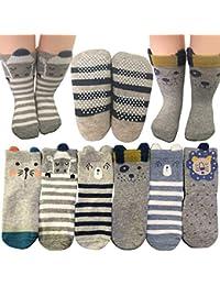 Baby Socks 6 Pairs Non Skid 12-36 Months Baby Boys Girls Toddler Anti Slip Skid Slipper Stretch Socks Footsocks...