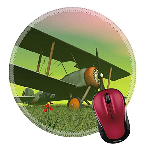 d Natural Rubber Mousepad IMAGE ID: 24396613 Vintage biplane standing on the green grass with flowers by sunset (Green Fuselage)