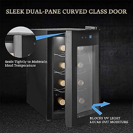 Refrigerador de vino - Refrigerador de vino pequeño, enfriador de 8 botellas, táctil, 39 Db en funcionamiento, puerta de vidrio, ajuste de 51 a 64 grados; F, Vinoteca Termoeléctrica Eléctrica Refrige
