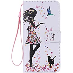 SZYT Phone Case for Apple iPhone 6 Plus / Apple iPhone 6s Plus, 5.5 inch, PU Leather Flip Cover with Handle, Floral Skirt Girl Black Cat