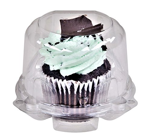(Green Direct Stackable Cupcake Boxes - Clear Plastic Dome Carrier - Standard size Individual Cupcake Holder - Single Compartment Containers BPA Free Pack of 50)