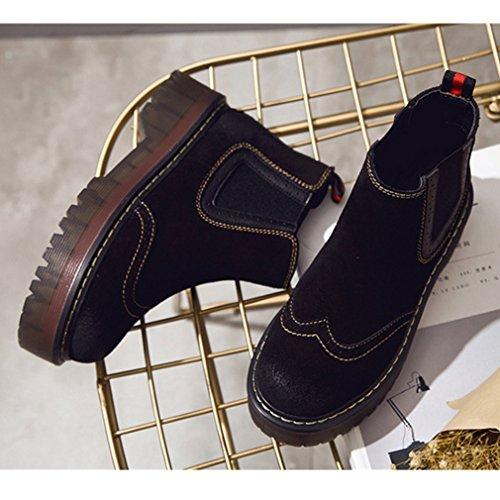 Hiver Automne Bottes Neige Suédé Femmes Épais Smelle Demi Botte Rétro Brogue Martin de Bottes Classique Noir 38 xGDBbk