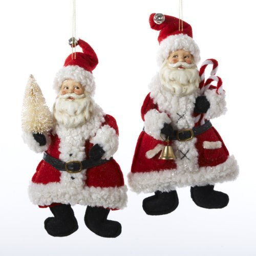 Kurt Adler Red And White Santa Holding Bell And Christmas Tree Ornament Set OF 2