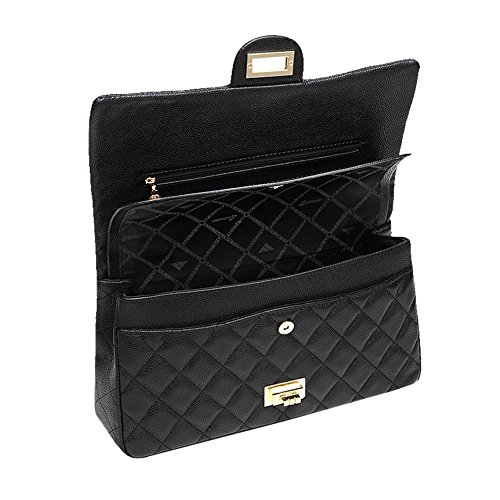 Turn Quilted Sheli Body Cross Lady Bag Handbag Purse for Black Lock Office Women Shoulder Flap naSwqSX