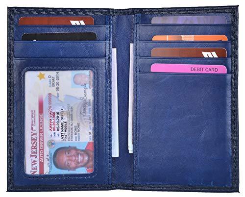 Slim Thin ID/Credit Card Holder RFID Genuine Leather Bifold Front Pocket Wallet (Carbon Fiber Leather Dark Blue)