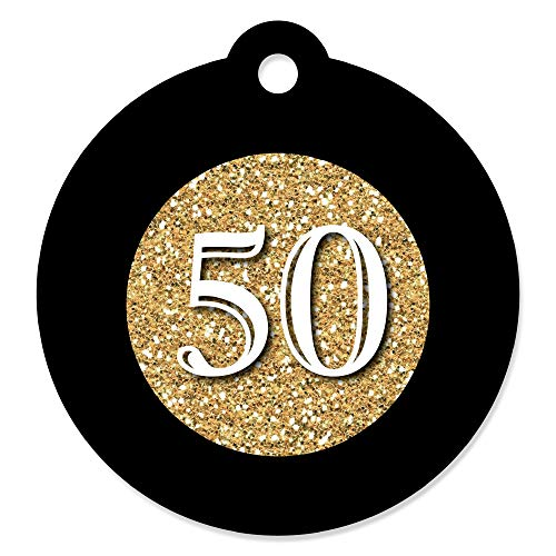 Adult 50th Birthday - Gold - Birthday Party Favor Gift Tags (Set of 20)