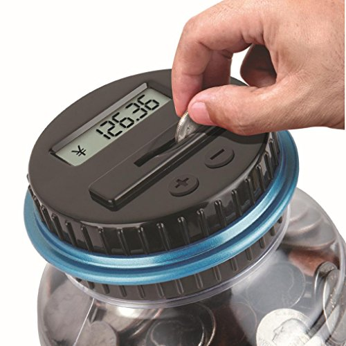 Clear Digital Piggy Bank, SANNYSIS Coin Savings Counter LCD Counting Money Jar Change ()