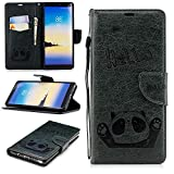 Misteem Cartoon Case for Samsung Galaxy Note 8, Cute Retro Panda Pattern Leather Cases Flip Shockproof with Card Holder Bookstyle / Stand / Magnetic Wallet Cover Protector for Samsung Galaxy Note 8 - Panda Dark Green